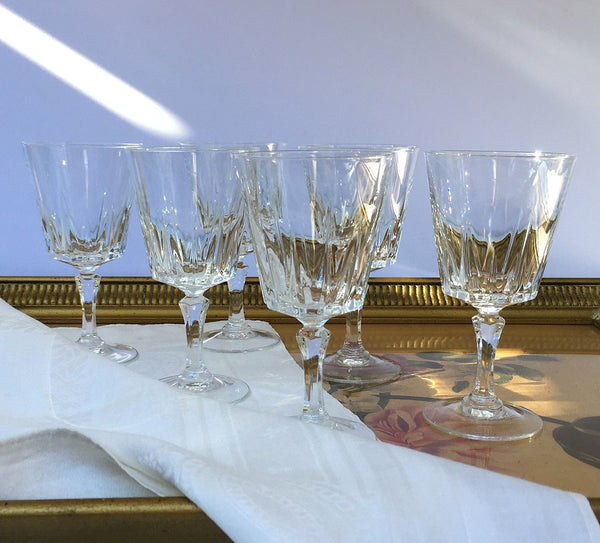 Cristal D'Arques-Durand Versailles Lead Crystal Wine Glasses Set of Six Wedding Glasses