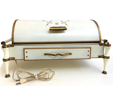 Vintage Food Warmer with Dome Lid Gold Retro Atomic Starburst Design
