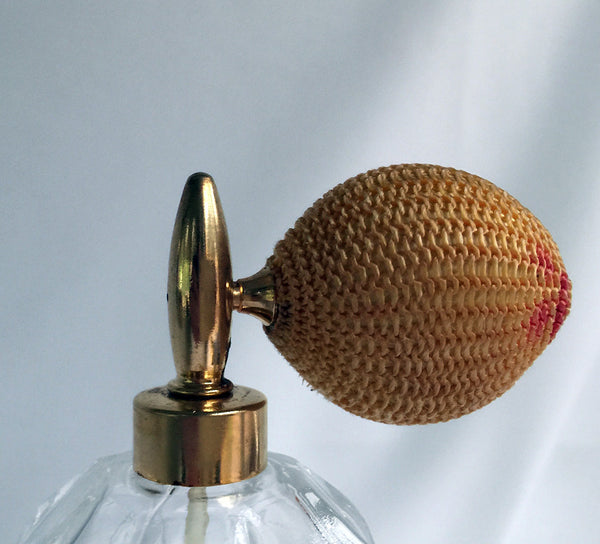 Vintage Crackle Glass Perfume Bottle / Brass Hardware / Gold Mesh Atomizer