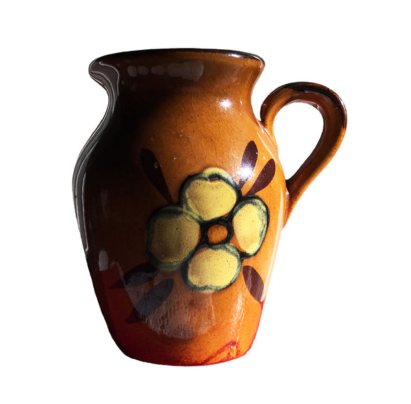 Vintage Pottery / Small Brown Pitcher / Pitcher with Floral Design / Farmhouse Decor / Country Chic Decor