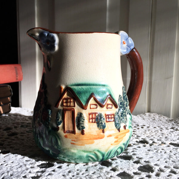 Small Vintage Pitcher / Occupied Japan Majolica Pitcher / Cream Pitcher / English Cottage Scene / Raised Relief Landscape /