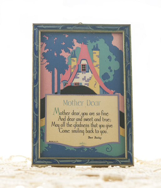 "Art Deco Poem by Bert Bailey ""Mother Dear"" Poem with 1920s Illustration Carved Wood Frame Gibson Product - PlumsandHoneyVintage"