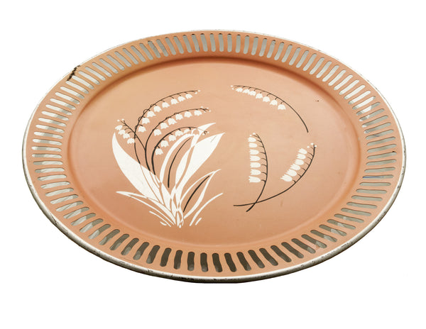 Vintage Metal Tray The American Art Works 1950s Coral Pink with White Lilies Large 19""