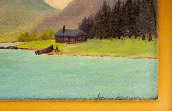 Vintage Original Painting Oil on Canvas Art Signed by Jeanne Laurence Alaskan Artist - PlumsandHoneyVintage