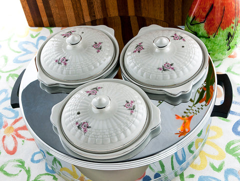 Vintage Food Warmer Forman Family, Inc. Mid Century Portable Steam Table Hall China Co. Ceramic Crocks with Lids  Chromium  New/Old Stock - PlumsandHoneyVintage