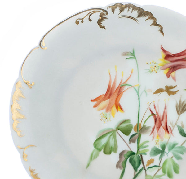 Antique Limoges Plate H & L Co 1800s Victorian Cabinet Plate Hand Painted Orange Floral Pattern Heavy Gold Edges Collectible Limoges Plates - PlumsandHoneyVintage