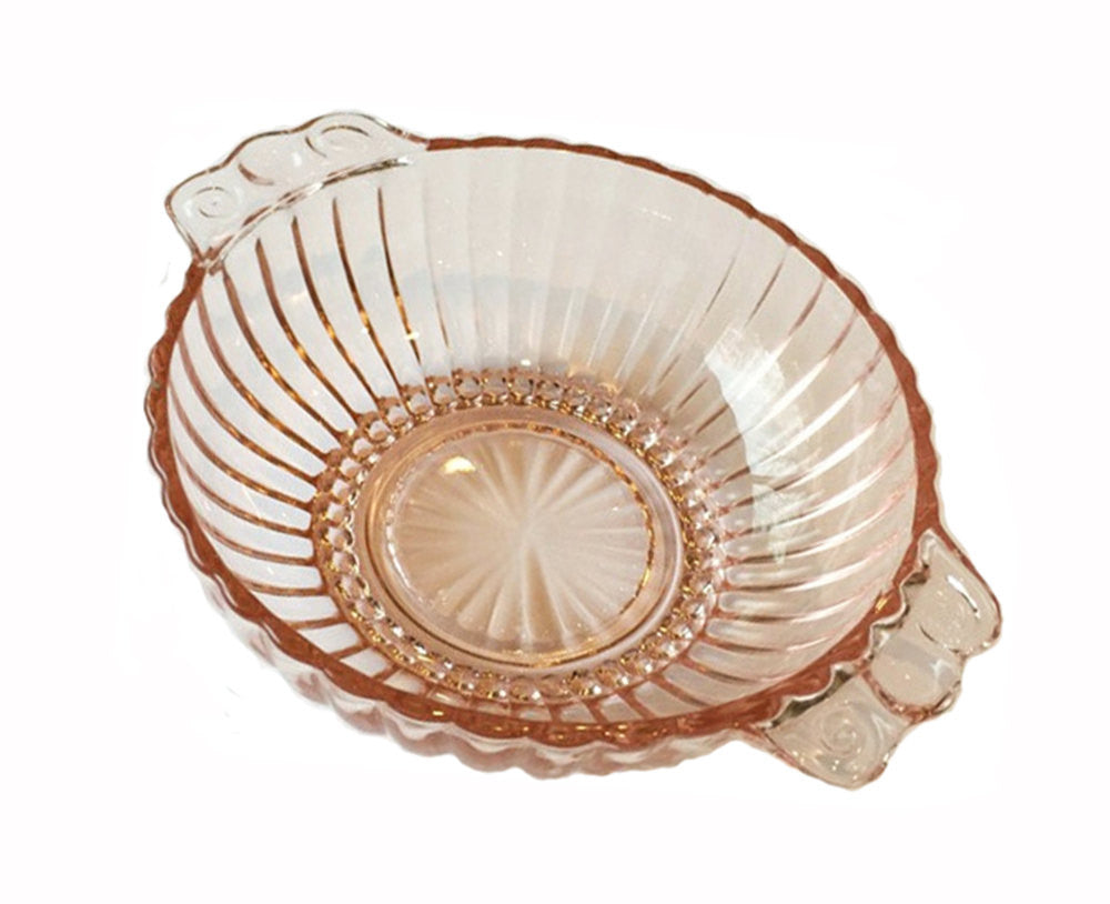 "Pink Depression Bowl Vintage Hocking Glass Dish ""Queen Mary"" Berry Bowl Ribbed with Handles 1940s Candy Dish Nut Dish Condiment Server - PlumsandHoneyVintage"