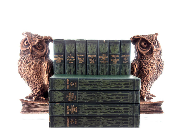 James Whitcomb Riley Books, 11 Volume Collection, 1900s Green Gold Antiquarian Book Decor