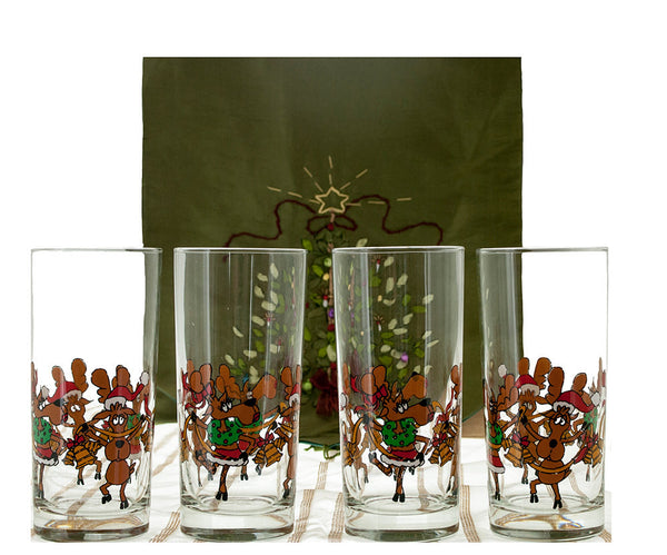 Vintage Holiday Glassware, Set of 8 Tipsy Reindeer, Highball Glasses, Cocktail Tumblers, Humorous Glasses, Vintage Christmas Bar Glasses - PlumsandHoneyVintage