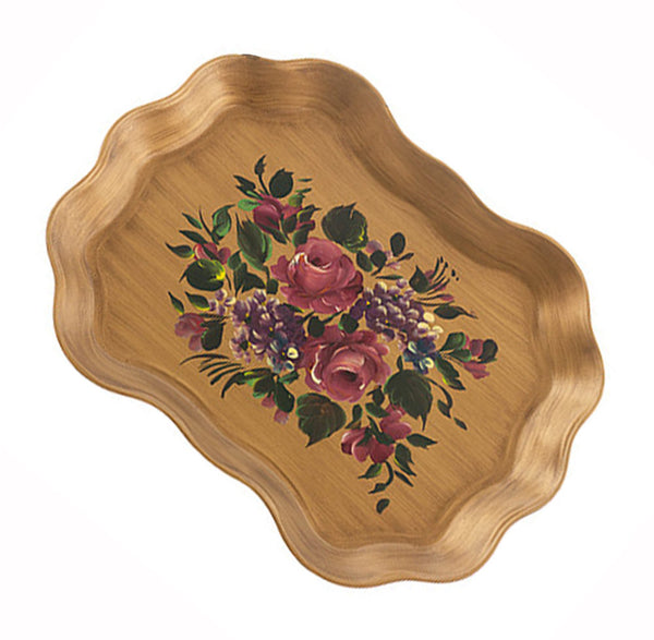 Vintage Metal Serving Tray Hand Painted Tole Floral Design Hydrangeas Roses Green Leaves Cottage Shabby Chic - PlumsandHoneyVintage