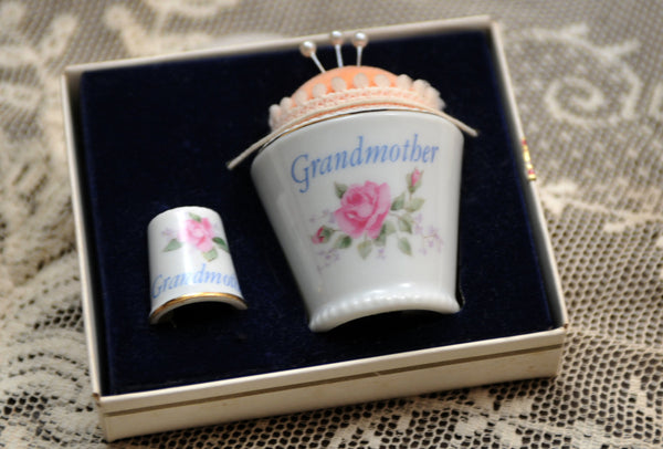 "Vintage Porcelain Pin Cushion and Thimble Mid Century Napco ""Grandmother"" Pink Roses Vintage Sewing Notions Special Gift Original Pins - PlumsandHoneyVintage"