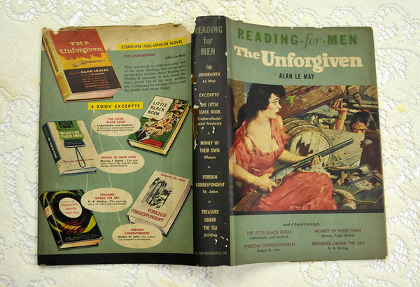 Vintage Reading for Men Series The Unforgiven and Four Excerpts Alan Le May 1958 Edition with Dust Jacket Mystery Crime Detective Stories - PlumsandHoneyVintage