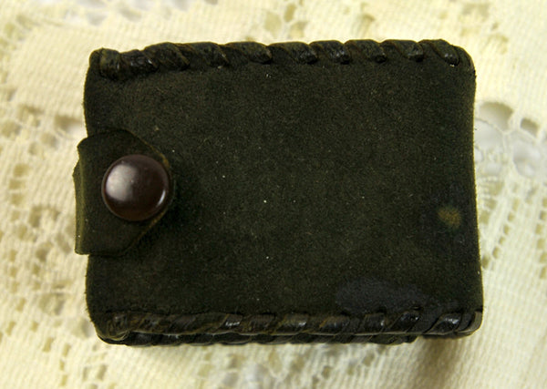 Vintage Miniature Playing Cards Double Decks Green Leather Suede Hand Tooled Case with Snap Scrapbooking Craft Supplies