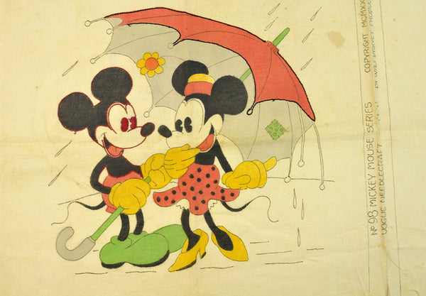 Vintage Embroidery Pattern  Mickey and Minnie Mouse Pillow Cover Vogue Needlecraft No. 98 Mickey Mouse Series 1931 Disney Cartoon Characters - PlumsandHoneyVintage