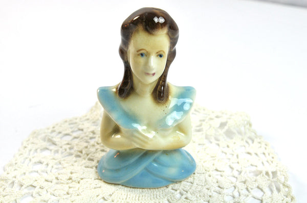 Vintage Porcelain Figurine Woman Lady Figural 1940s Retro Cottage Decor Girl's Room Shabby Chic Blue Cream Collectible Kitsch