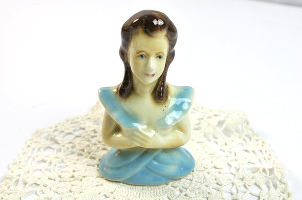 Vintage Porcelain Figurine Woman Lady Figural 1940s Retro Cottage Decor Girl's Room Shabby Chic Blue Cream Collectible Kitsch - PlumsandHoneyVintage