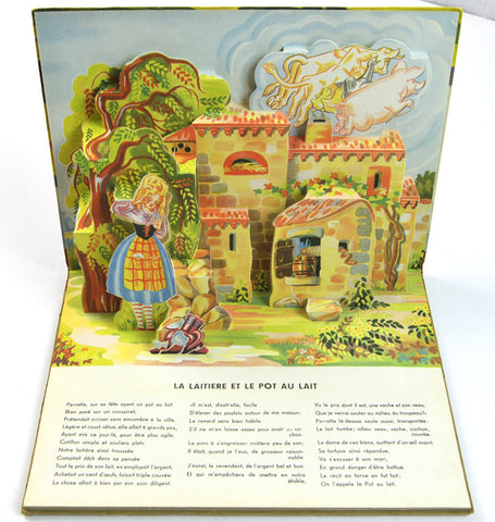RARE Vintage Book for Kids, French Language Pop-Up Book, Fables Illustrations by Gildas, Lucos Mullhouse 1950s,  Children's Nursery Rhymes - PlumsandHoneyVintage