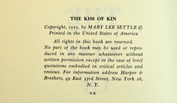 Rare First Edition, The Kiss of Kin, Mary Lee Settle, 1955, Southern Women, West Virginia, American Fiction, Mid Century