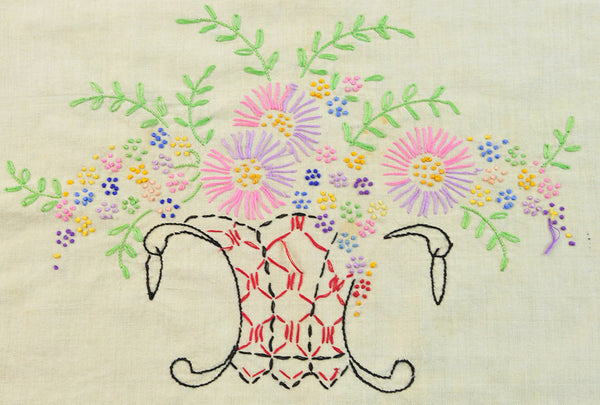 Vintage Embroidered Pillow Cover Handmade Floral Basket Needlework Embroidery 1940s Quilt Block Crafting Cutter Home Project Home Decor - PlumsandHoneyVintage