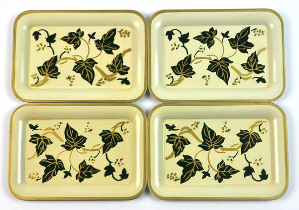Vintage Metal Trays Mini-Trays American Art Works Social Supper Trays 1950s Mid Century Ivy Vines