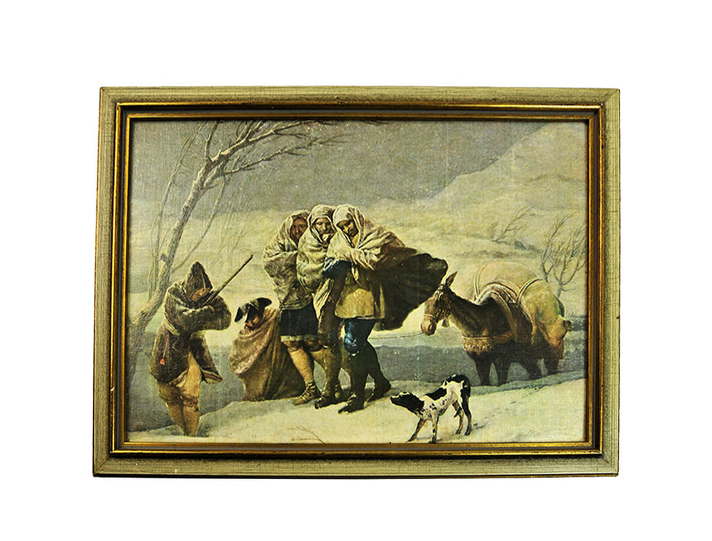 Vintage Print of The Snowstorm by Goya Winter Winter Scape Snow Scene Painting on Board Rustic Primitive Wall Hanging Farmhouse Den Man Cave - PlumsandHoneyVintage