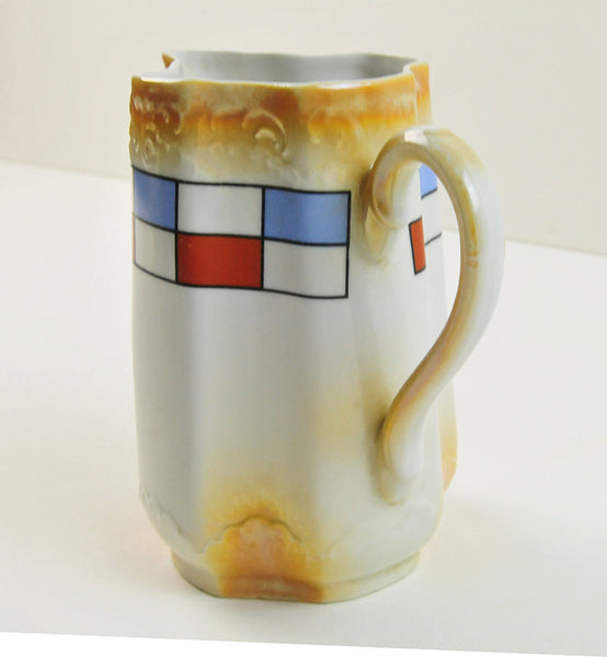 Vintage Pitcher Burnt Gold German Porcelain Pitcher with Luxembourg Colors Red White Blue, Ceramic Chinaware Cream Tea, Coffee Hot Chocolate