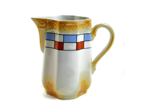 Vintage Pitcher Burnt Gold German Porcelain Pitcher with Luxembourg Colors Red White Blue, Ceramic Chinaware Cream Tea, Coffee Hot Chocolate - PlumsandHoneyVintage