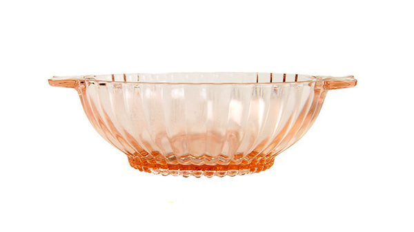 "Pink Depression Bowl Vintage Hocking Glass Dish ""Queen Mary"" Berry Bowl Ribbed with Handles 1940s Candy Dish Nut Dish Condiment Server"
