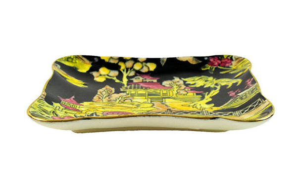 Royal Winton Pekin Dish Black Gold Edges Floral Chintz Asian Inspired Decor Grimwades 1951 England Black Red Chartreuse Yellow - PlumsandHoneyVintage