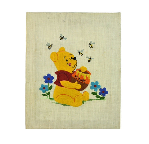 Winnie the Pooh Embroidery Mid Century A. A. Milne Embroidered Pooh