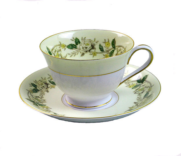 Vintage Bone China Teacups and Saucers Noritake Cup Saucer Set, #5020, White Rose, Ivy Vine, Circa 1940 - PlumsandHoneyVintage