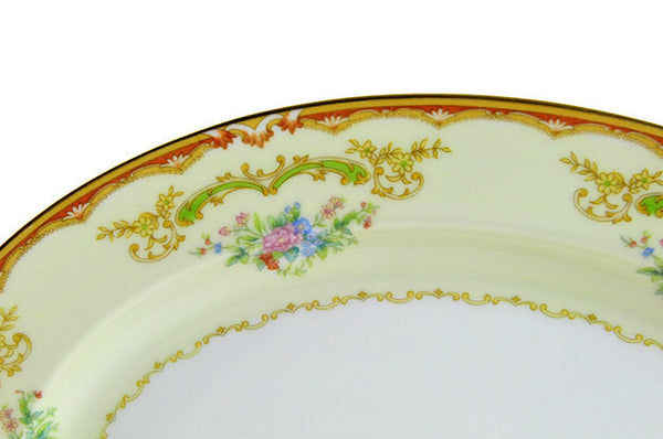 Vintage Noritake Serving Platter Japanese Small Porcelain Platter Plate 1930s Serving Plate Orange Blue Pink Gold Green Wedding - PlumsandHoneyVintage