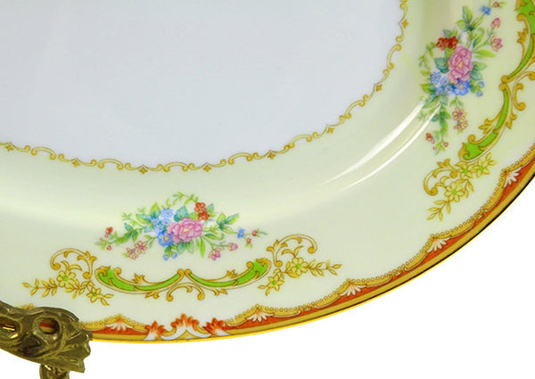 Vintage Noritake Serving Platter Japanese Small Porcelain Platter Plate 1930s Serving Plate Orange Blue Pink Gold Green Wedding