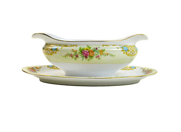 Vintage Gravy Boat Floral Noritake Double Spouted Gravy Boat with Attached Drip Plate Vintage Asian Floral Orange Pink Blue Green Gold - PlumsandHoneyVintage