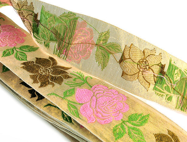 Vintage Sewing Trim 5.5 Yards Jacquard Gold Metallic with Pink Brown Green Franken Trimming 1960s New Old Stock Rayon Metallic Made in Japan - PlumsandHoneyVintage