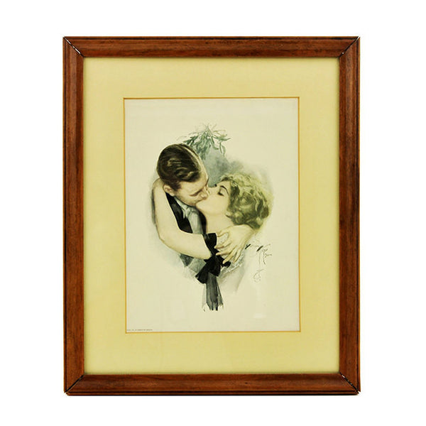 Vintage Wall Art Print Harrison Fisher Framed The First Kiss Cosmopolitan Magazine Gibson Girls Wedding Anniversary Gift Antique Decor
