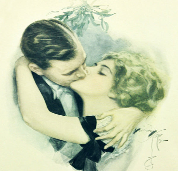 Vintage Wall Art Print Harrison Fisher Framed The First Kiss Cosmopolitan Magazine Gibson Girls Wedding Anniversary Gift Antique Decor - PlumsandHoneyVintage