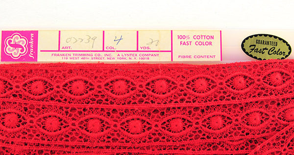 Vintage Red Crochet Trim 8 1/2+ Yards Bobbin Style Lace1960s New Old Stock Brilliant Red Home Decor Crafting Pillows Franken Co Sewing
