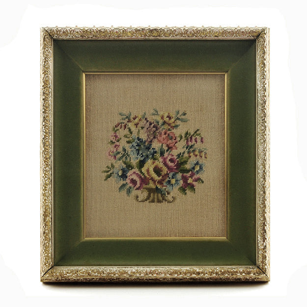 Vintage Needlepoint Wall Hanging, Bouquet of Flowers in Carved Shadowbox Frame Gilt with Green Velvet Textile Art Farmhouse Cottage Chic - PlumsandHoneyVintage
