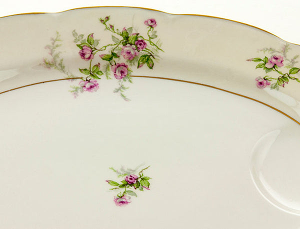 "Theodore Haviland  Platter Limoges Porcelain Platter Pink Roses with Green Spray Large 16"" Meat Platter with Juice Well Cottage Style"