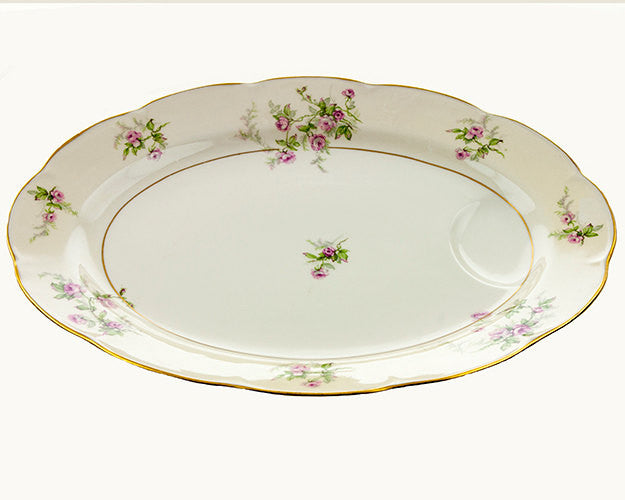 "Theodore Haviland  Platter Limoges Porcelain Platter Pink Roses with Green Spray Large 16"" Meat Platter with Juice Well Cottage Style - PlumsandHoneyVintage"