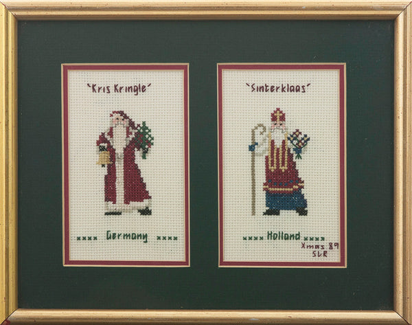 Kris Kringle Cross Stitch Wall Art Christmas Decor Germany and Sinterklass Holland 1989 Xmas Needlework Wall Hanging Kitsch Holiday Decor - PlumsandHoneyVintage