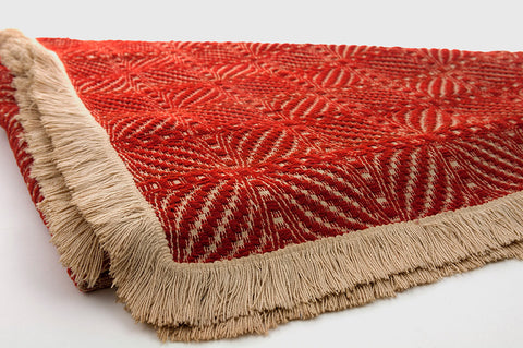 Vintage Woven Blanket Coverlet Overshot Double Bow Knot Pattern Rust Red Wool Natural Cotton Rustic Home Decor Horse Carriage Blanket - PlumsandHoneyVintage