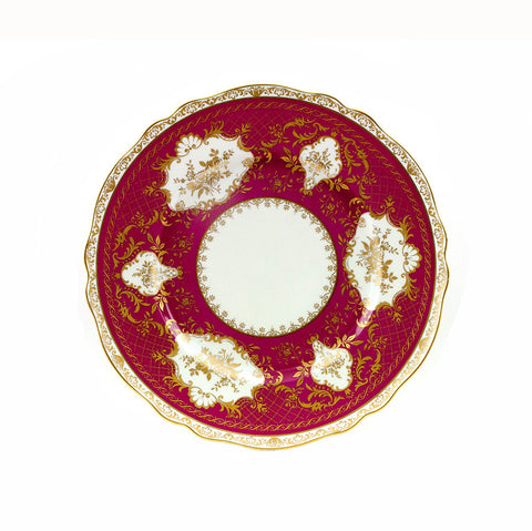 Krautheim SELB Bavarian Plate Porcelain Charger Bavaria Germany Red with Gold White Medallions Collectible Service Plate Cabinet Display