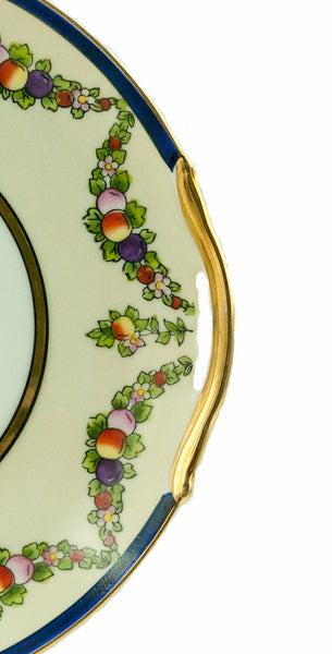 Vintage Noritake Plate, Art Deco Cake Plate, Japanese Porcelain, Fruit Compote Design with Gold Rim