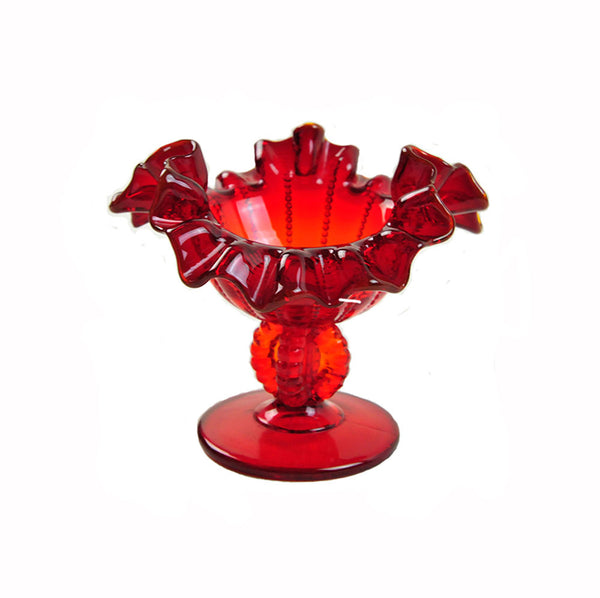 Red Fenton Glass Compote Ruffled Edge Beaded Base and Panels Vintage Pedestal Bowl Art Glass Dish