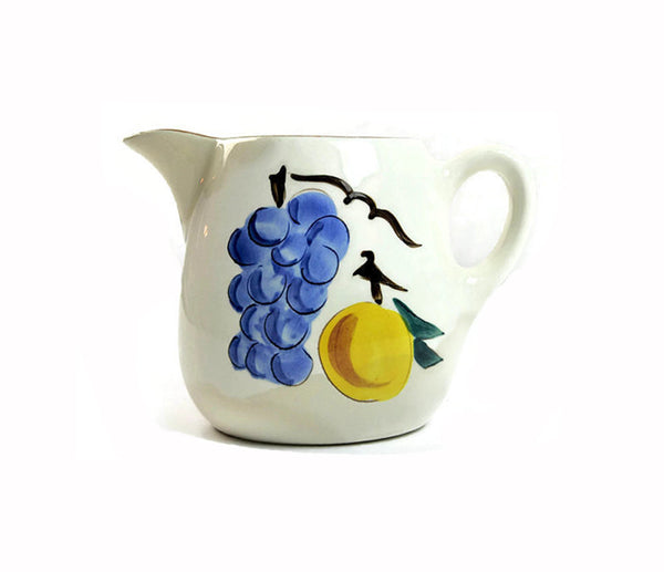 Vintage Ceramic Stangl Pitcher Fruit Design Mid Century Stangl Pitcher 1950s Pottery with Grapes Peach Apple Kitchen Decor Country Farmhouse - PlumsandHoneyVintage