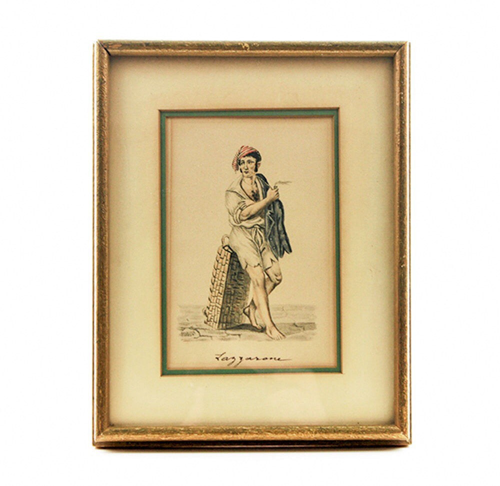 Vintage Italian Print Framed Print 1930s Lazzarone Neapolitan Italian Playboy Print Distressed Wood Frame Shabby Decor Italian Wall Hanging - PlumsandHoneyVintage