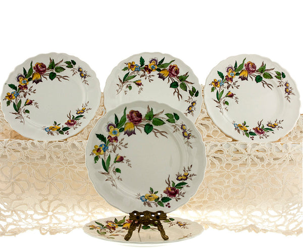 Vintage Grindley Plates Set of 5 Marlborough Royal Petal  Rosalind Transferware Pattern Porcelain Lunch Salad Plates Replacement China - PlumsandHoneyVintage