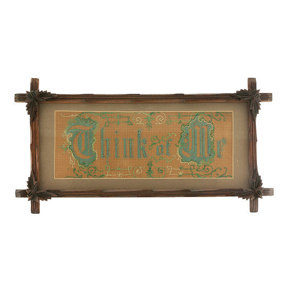Victorian Embroidery Perforated Punch Paper Think of Me Motto 1800s Adirondack Leaf Wood Frame Christmas in July SALE! - PlumsandHoneyVintage
